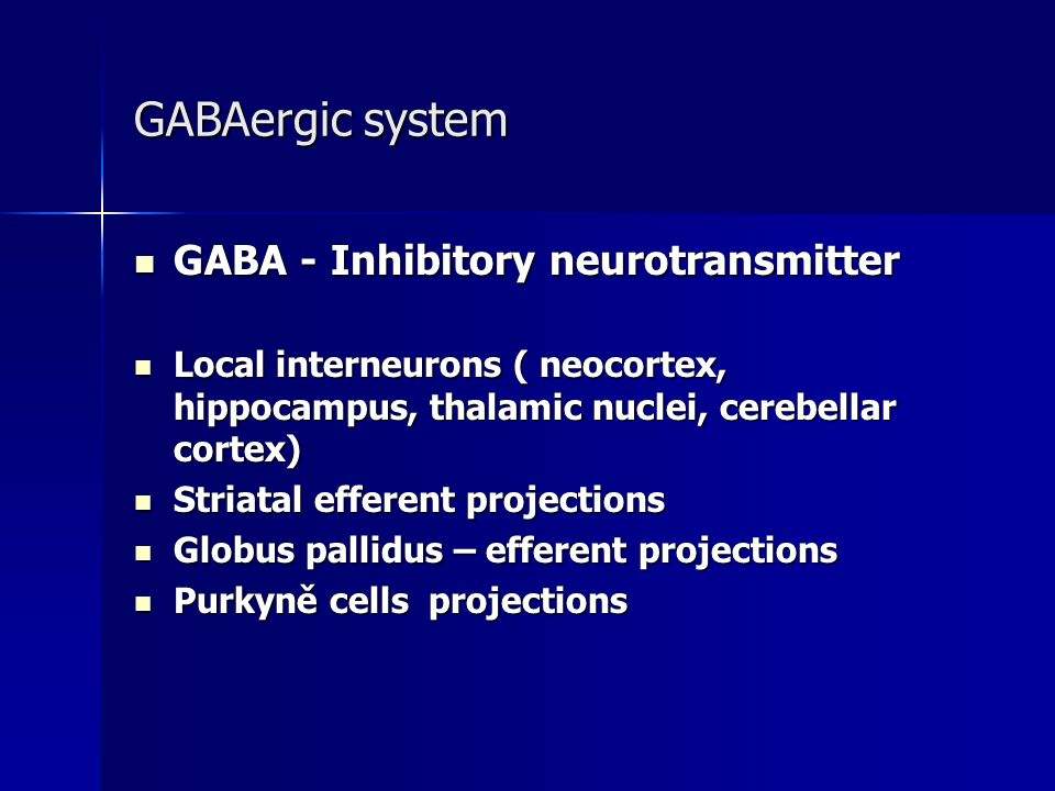 GABAergic system GABA - Inhibitory neurotransmitter