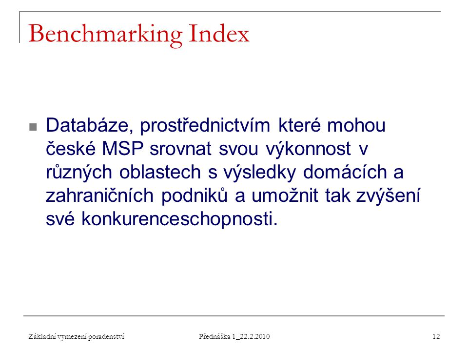 Benchmarking Index