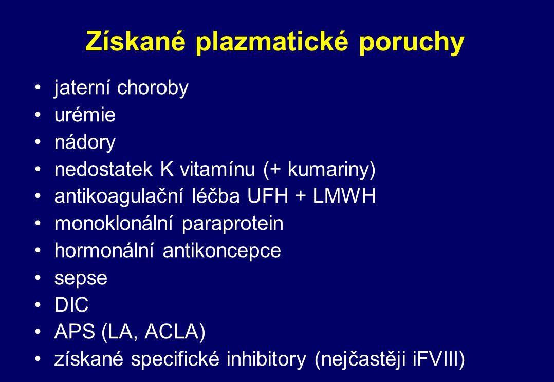 Získané plazmatické poruchy