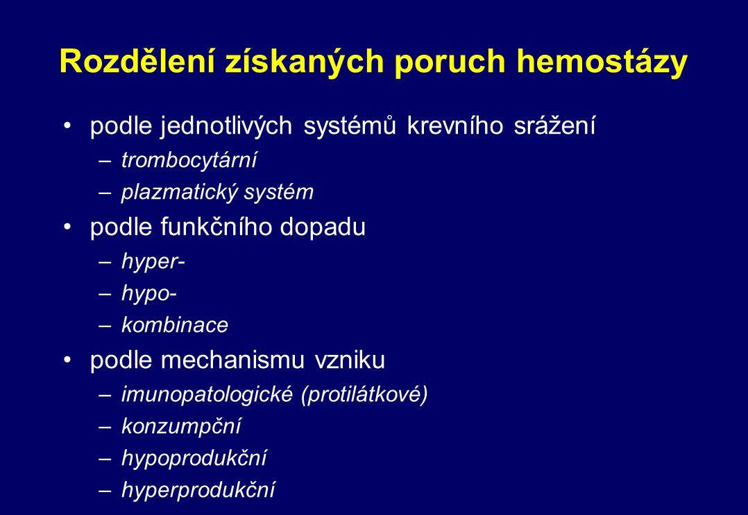 Rozdělení získaných poruch hemostázy