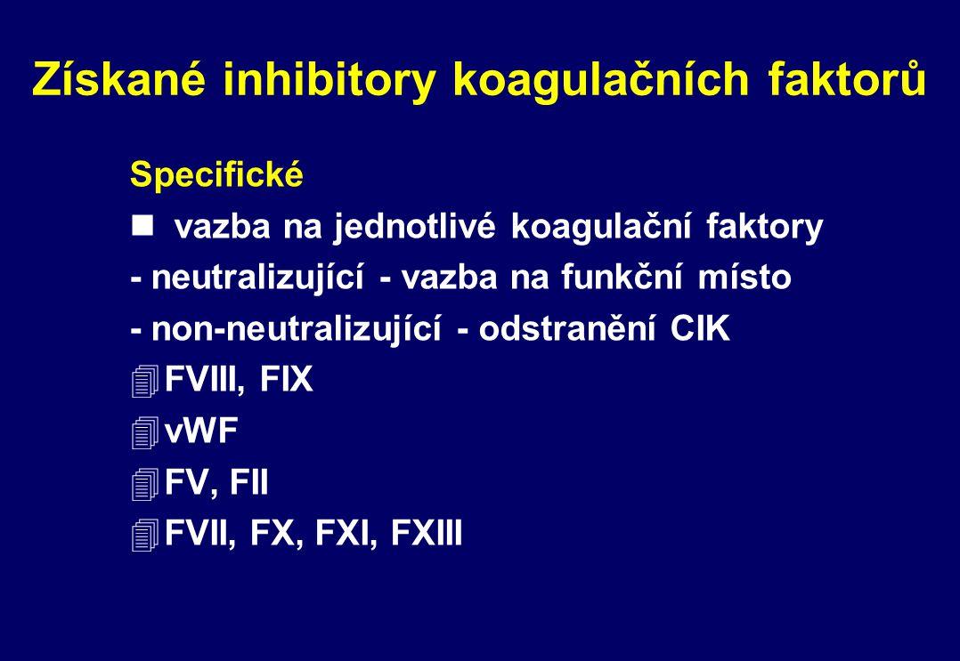 Získané inhibitory koagulačních faktorů