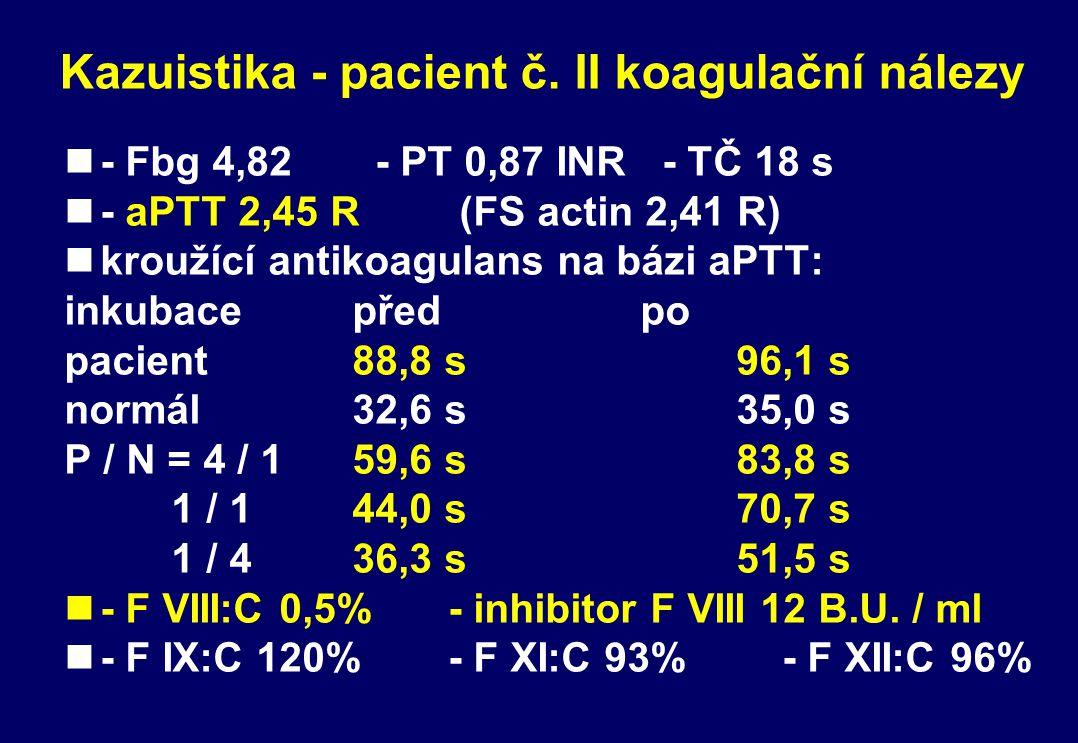 Kazuistika - pacient č. II koagulační nálezy