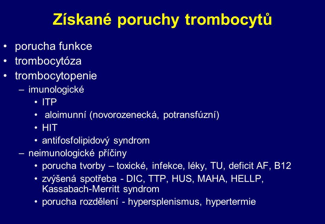 Získané poruchy trombocytů