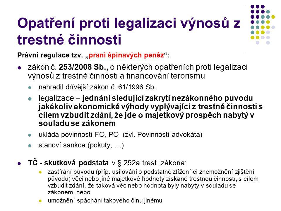 Opatření proti legalizaci výnosů z trestné činnosti
