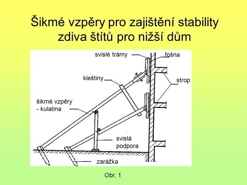 Šikmé vzpěry pro zajištění stability zdiva štítů pro nižší dům