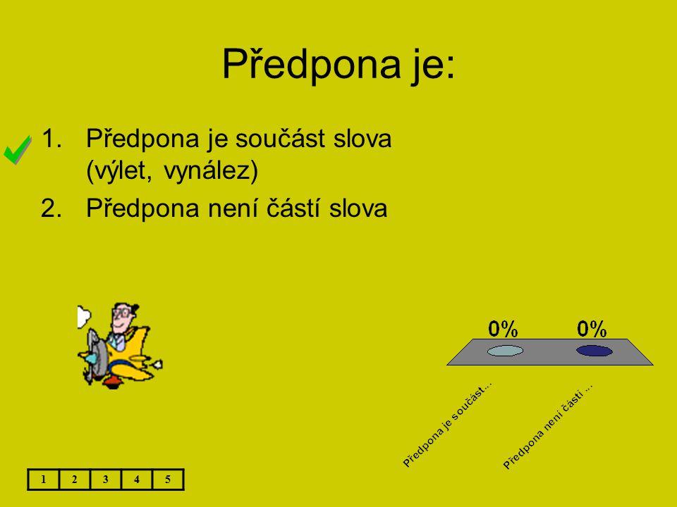 Předpona je: Předpona je součást slova (výlet, vynález)