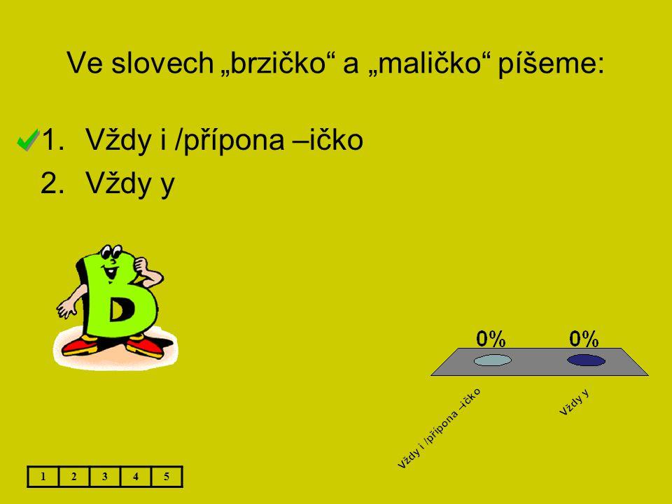 """Ve slovech """"brzičko a """"maličko píšeme:"""