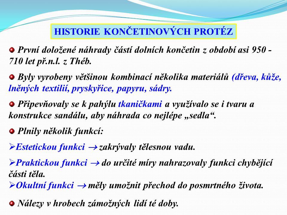 HISTORIE KONČETINOVÝCH PROTÉZ