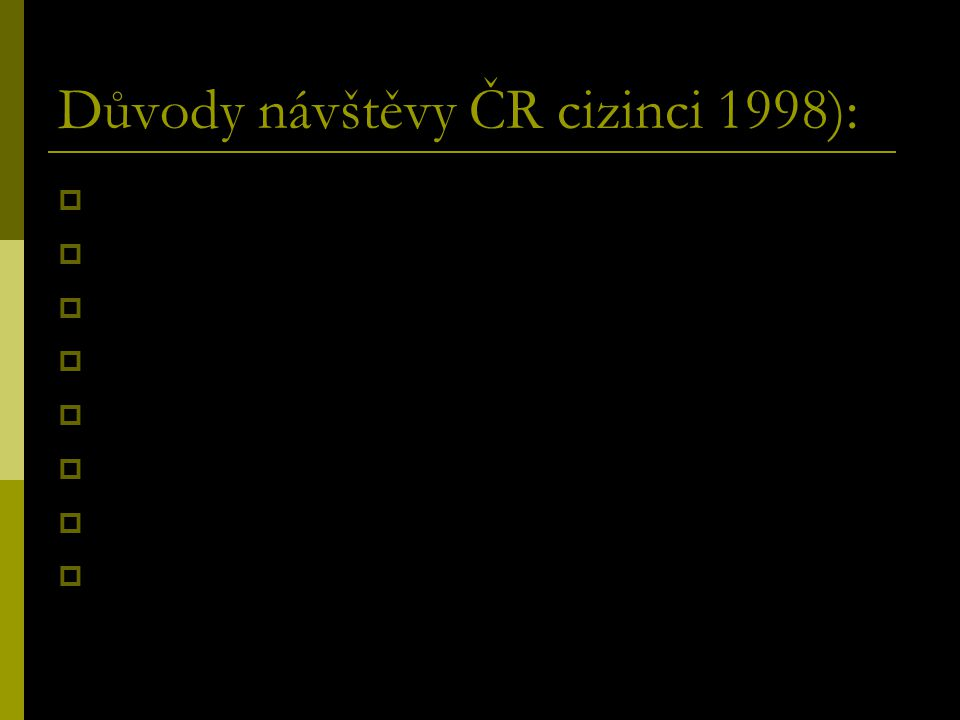 Důvody návštěvy ČR cizinci 1998):