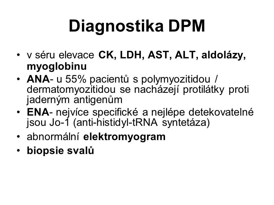 Diagnostika DPM v séru elevace CK, LDH, AST, ALT, aldolázy, myoglobinu