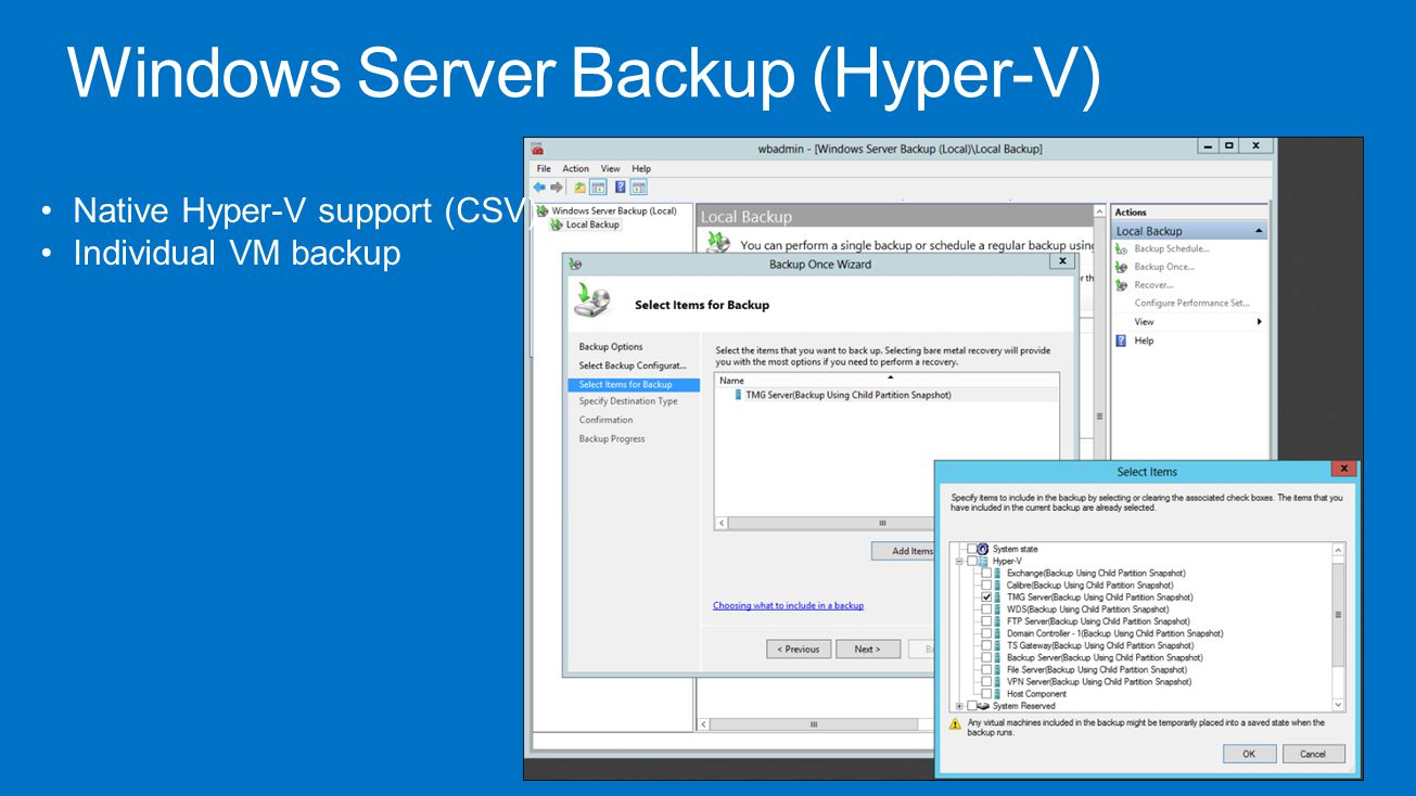 Windows Server Backup (Hyper-V)
