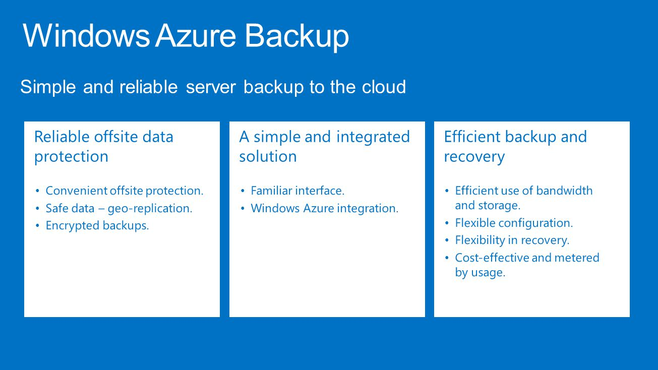 Windows Azure Backup Simple and reliable server backup to the cloud