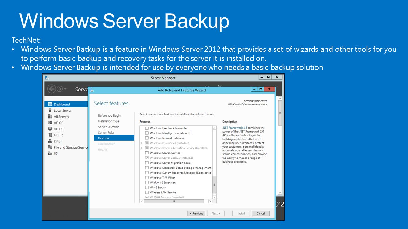 Windows Server Backup TechNet: