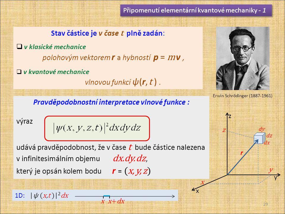 Pravděpodobnostní interpretace vlnové funkce :