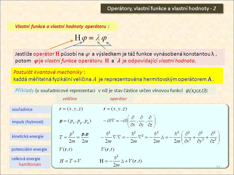 Vlastní funkce a vlastní hodnoty operátoru :