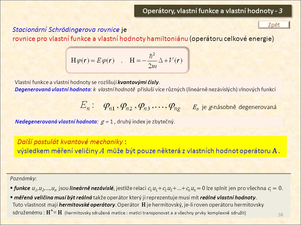 Operátory, vlastní funkce a vlastní hodnoty - 3