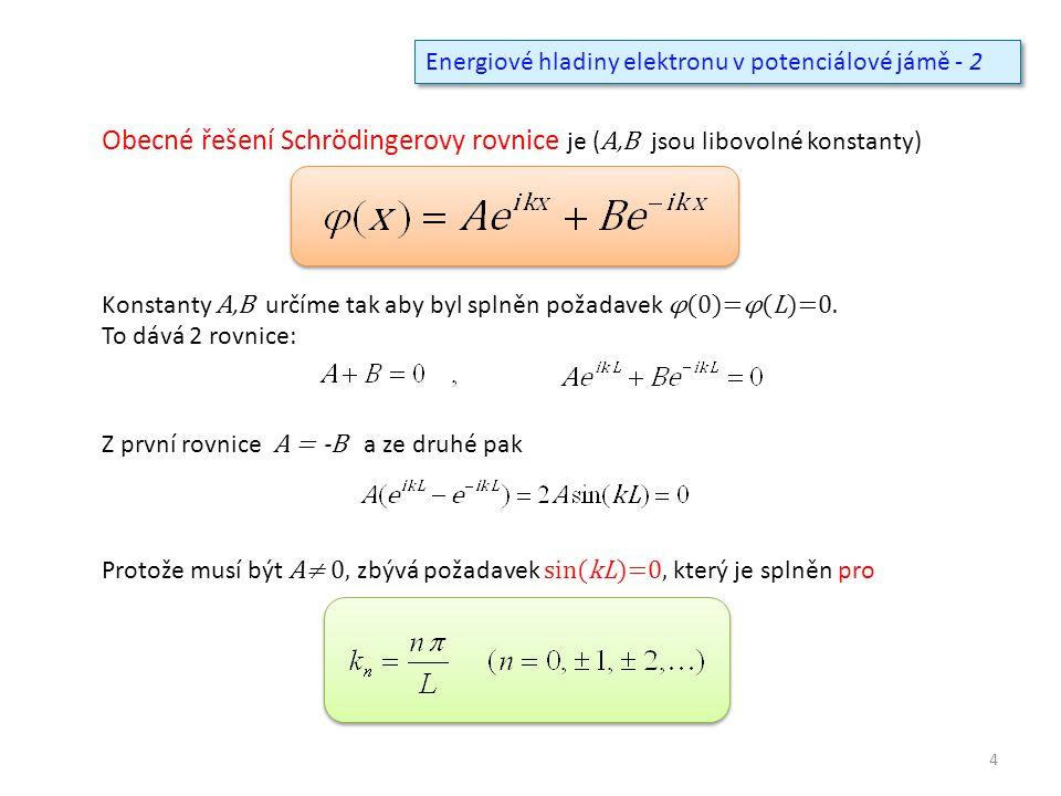 Obecné řešení Schrödingerovy rovnice je (A,B jsou libovolné konstanty)