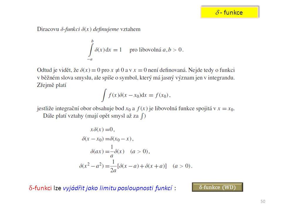 δ-funkci lze vyjádřit jako limitu posloupnosti funkcí :