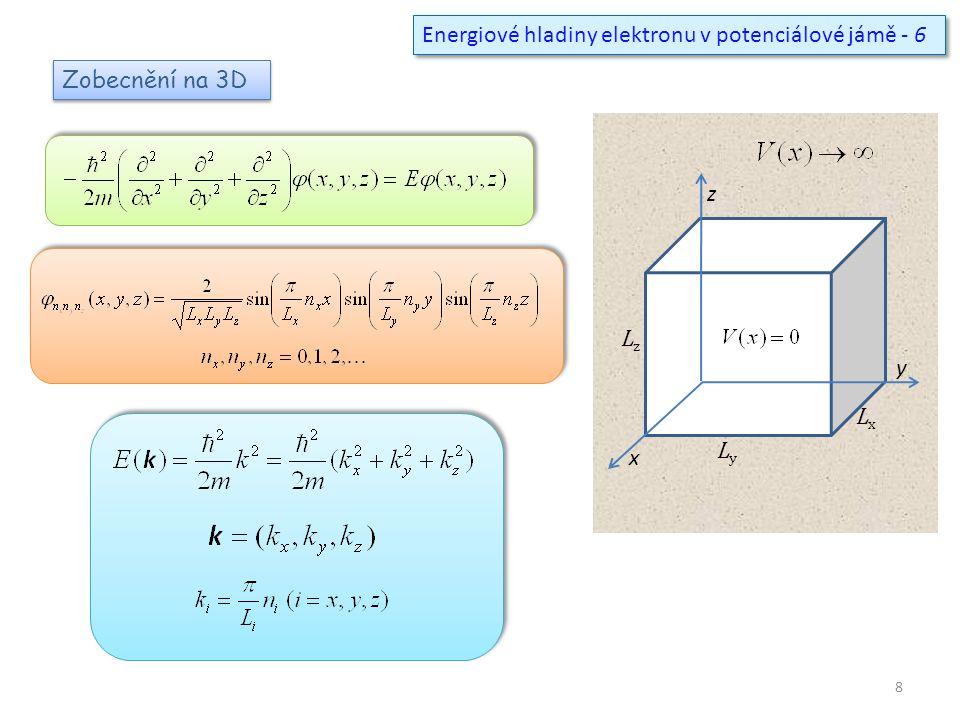 Energiové hladiny elektronu v potenciálové jámě - 6
