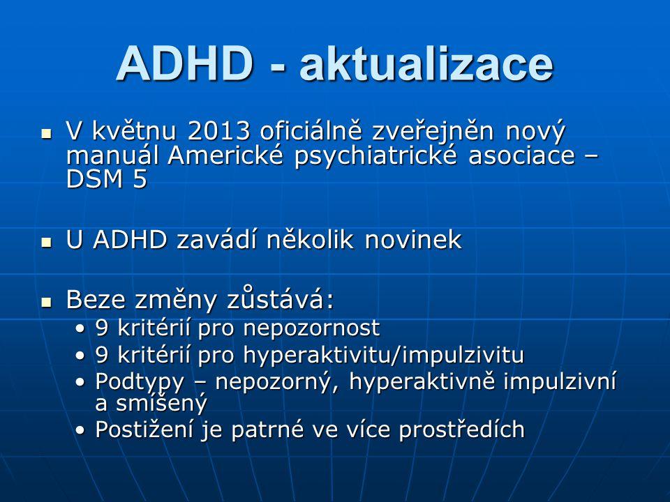 ADHD - aktualizace V květnu 2013 oficiálně zveřejněn nový manuál Americké psychiatrické asociace – DSM 5.