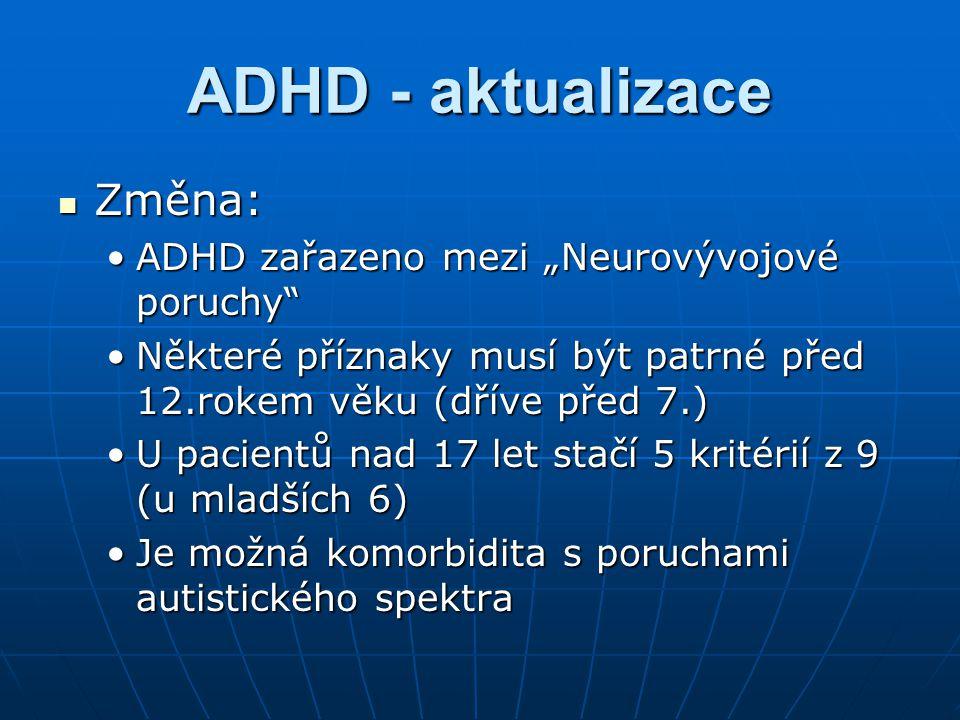"ADHD - aktualizace Změna: ADHD zařazeno mezi ""Neurovývojové poruchy"