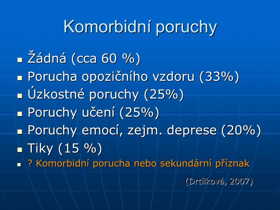 Komorbidní poruchy Žádná (cca 60 %) Porucha opozičního vzdoru (33%)