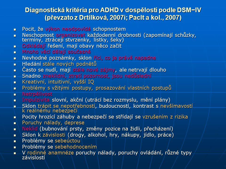 Diagnostická kritéria pro ADHD v dospělosti podle DSM−IV (převzato z Drtílková, 2007i; Paclt a kol., 2007)