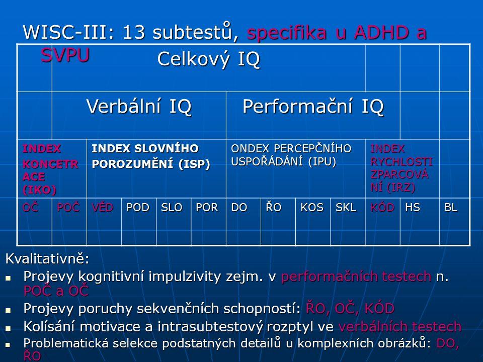 WISC-III: 13 subtestů, specifika u ADHD a SVPU Celkový IQ Verbální IQ