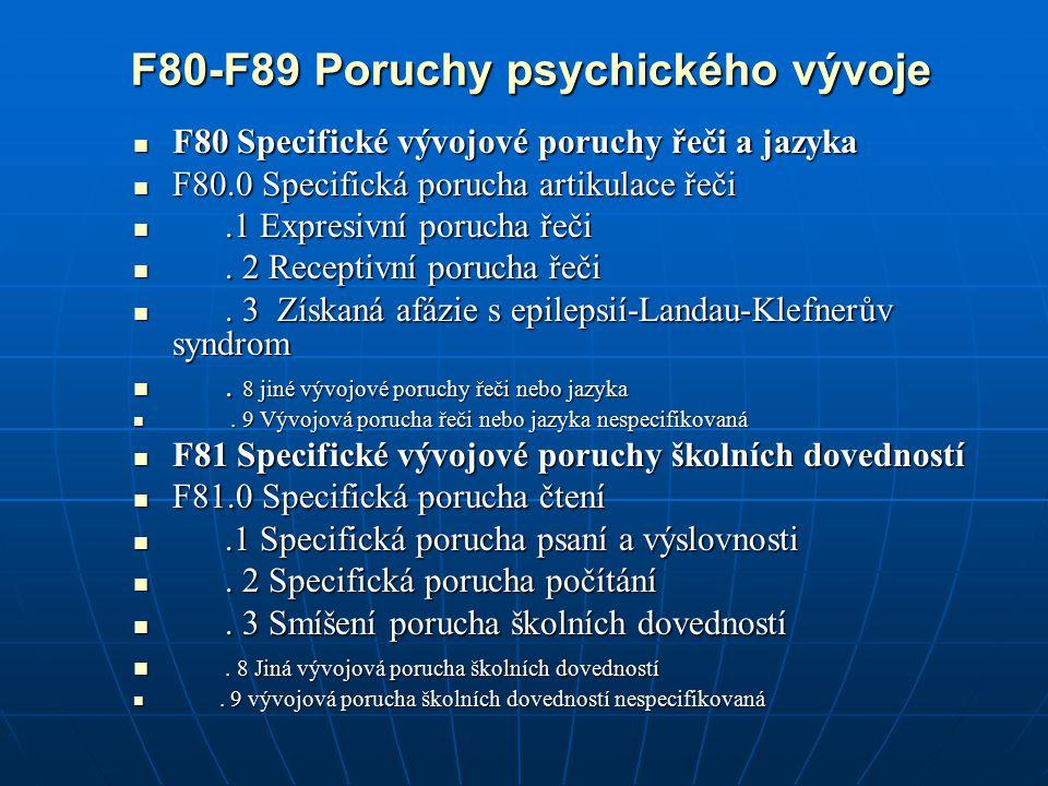 F80-F89 Poruchy psychického vývoje