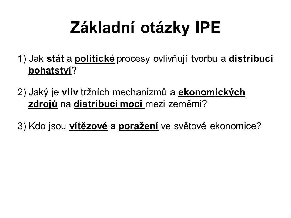 Základní otázky IPE 1) Jak stát a politické procesy ovlivňují tvorbu a distribuci bohatství
