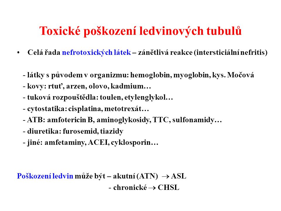 Toxické poškození ledvinových tubulů