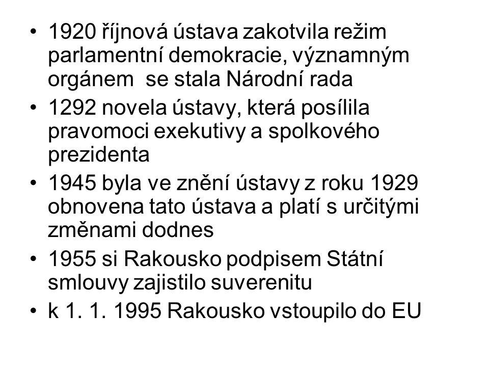 1920 říjnová ústava zakotvila režim parlamentní demokracie, významným orgánem se stala Národní rada