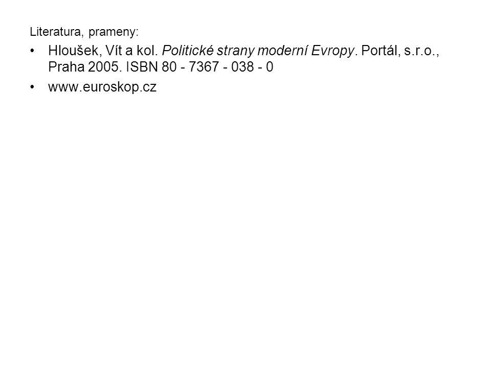 Literatura, prameny: Hloušek, Vít a kol. Politické strany moderní Evropy. Portál, s.r.o., Praha 2005. ISBN 80 - 7367 - 038 - 0.