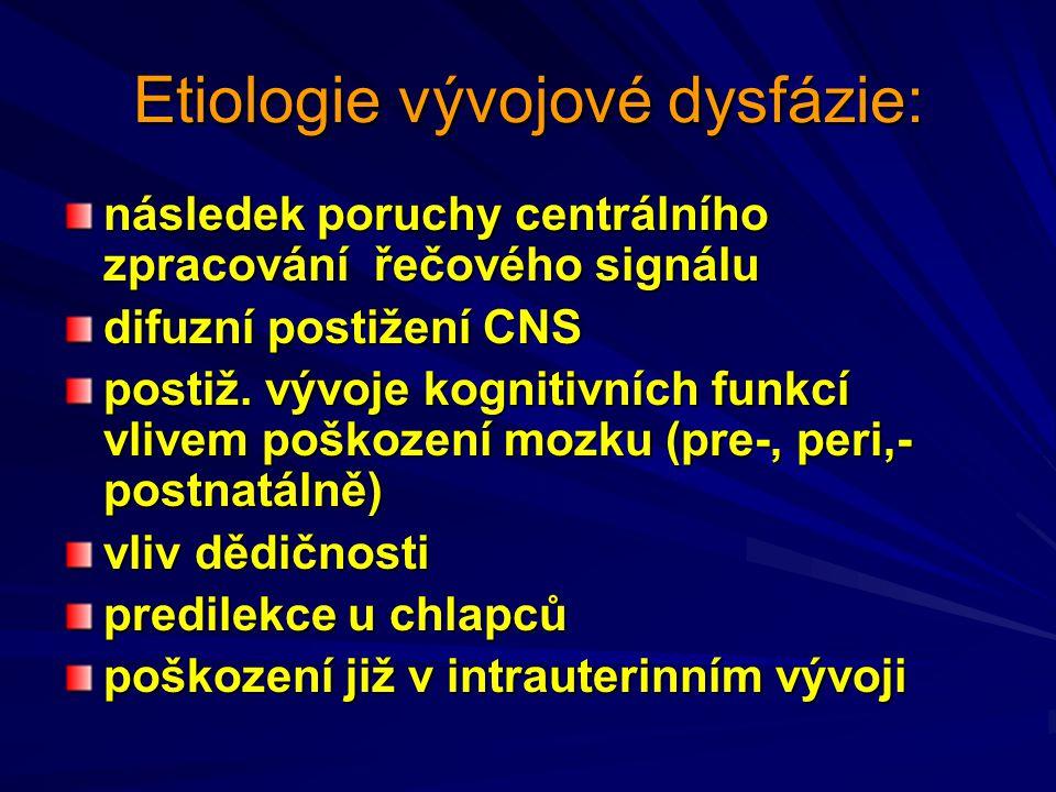 Etiologie vývojové dysfázie: