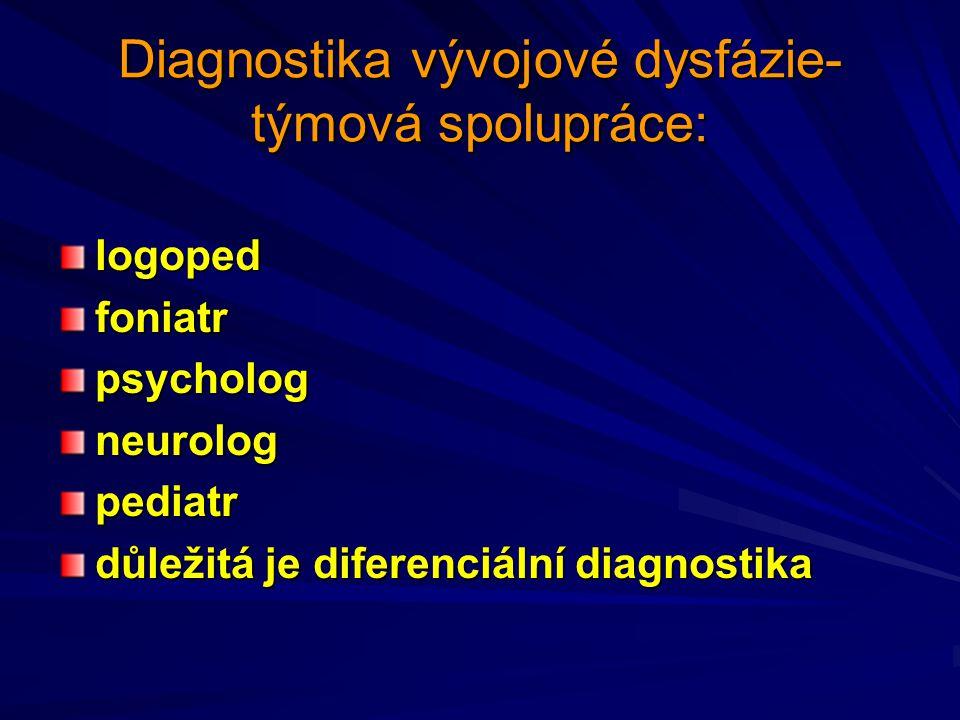 Diagnostika vývojové dysfázie- týmová spolupráce: