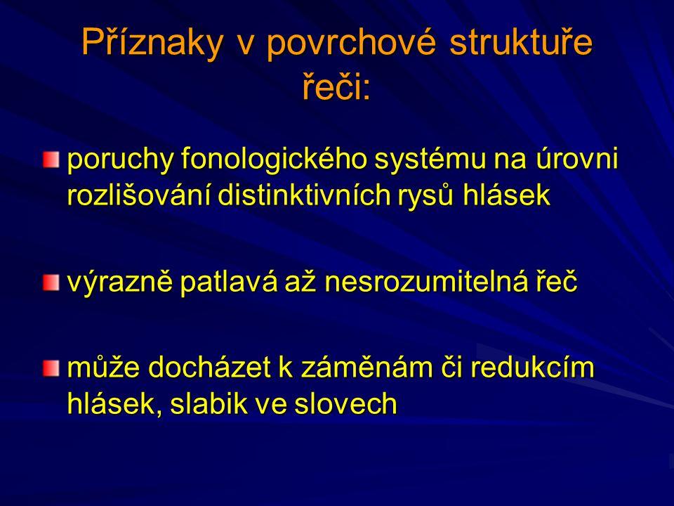 Příznaky v povrchové struktuře řeči: