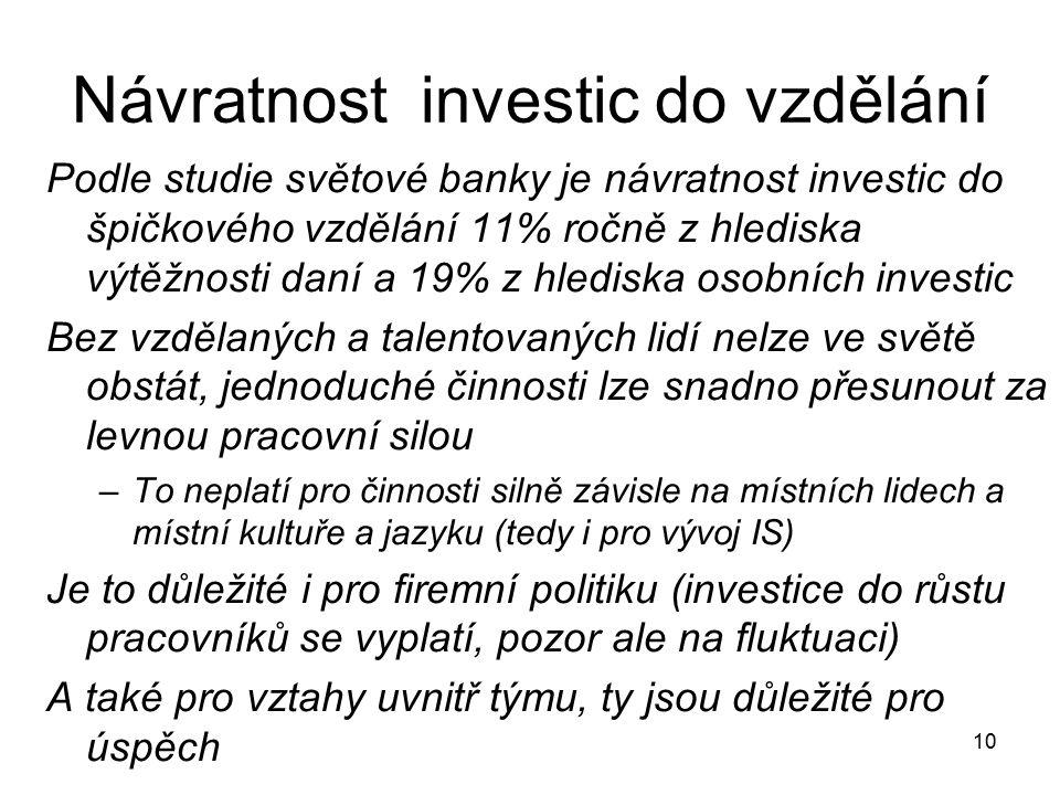 Návratnost investic do vzdělání