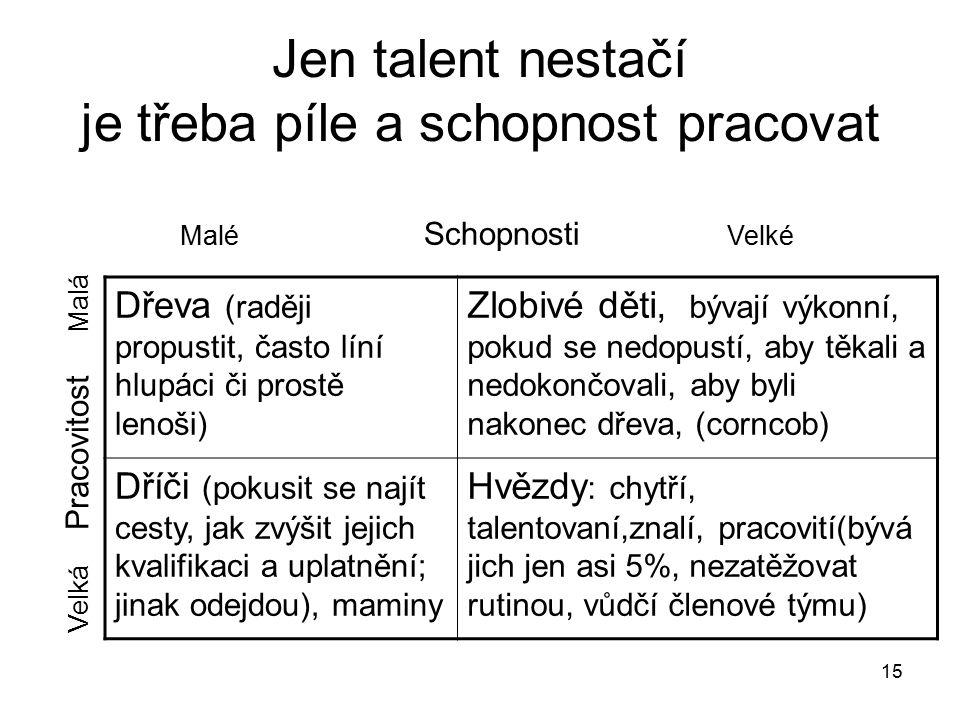 Jen talent nestačí je třeba píle a schopnost pracovat