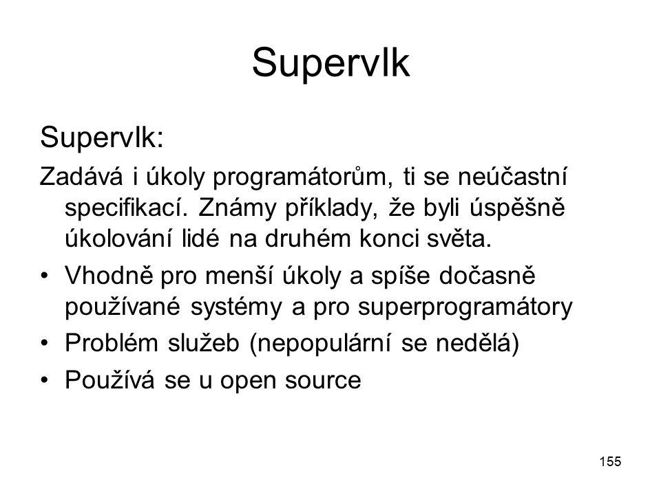 Supervlk Supervlk: Zadává i úkoly programátorům, ti se neúčastní specifikací. Známy příklady, že byli úspěšně úkolování lidé na druhém konci světa.
