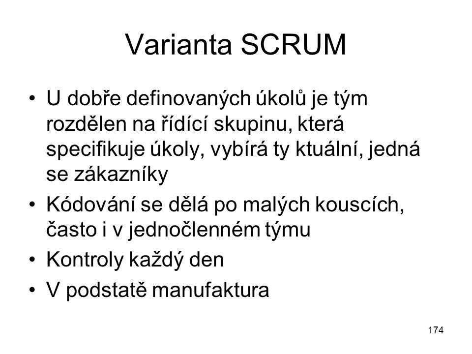Varianta SCRUM U dobře definovaných úkolů je tým rozdělen na řídící skupinu, která specifikuje úkoly, vybírá ty ktuální, jedná se zákazníky.
