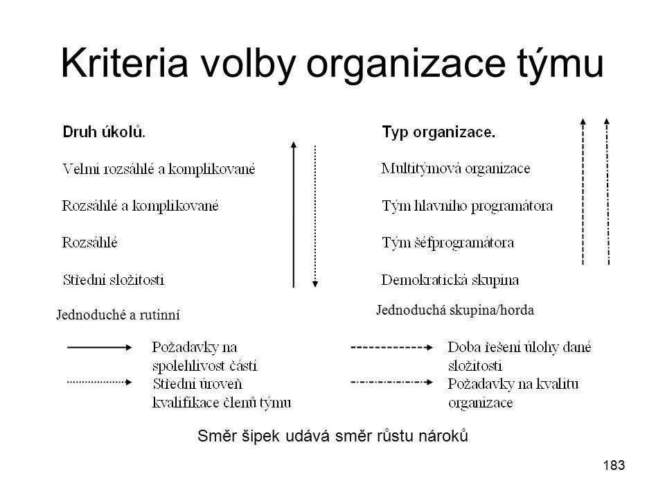Kriteria volby organizace týmu