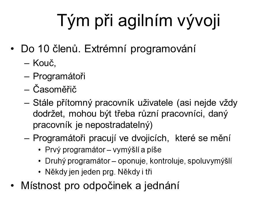 Tým při agilním vývoji Do 10 členů. Extrémní programování