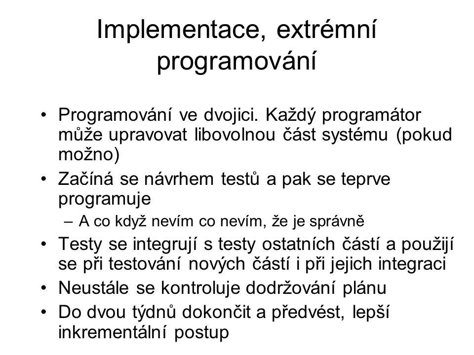 Implementace, extrémní programování