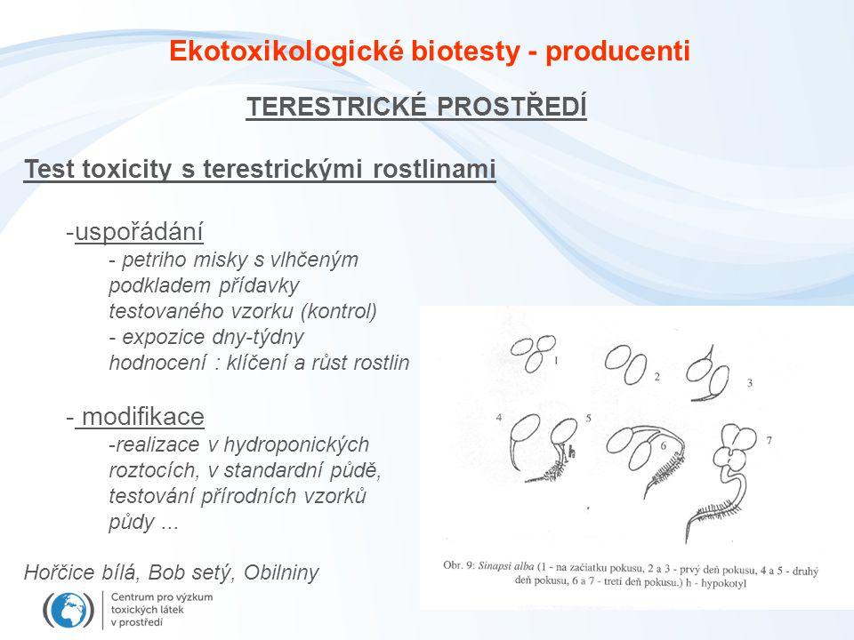 Ekotoxikologické biotesty - producenti TERESTRICKÉ PROSTŘEDÍ