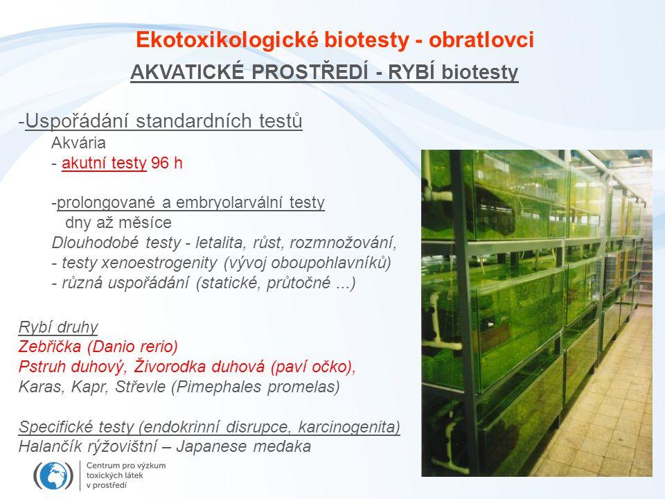 Ekotoxikologické biotesty - obratlovci