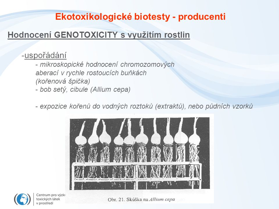 Ekotoxikologické biotesty - producenti