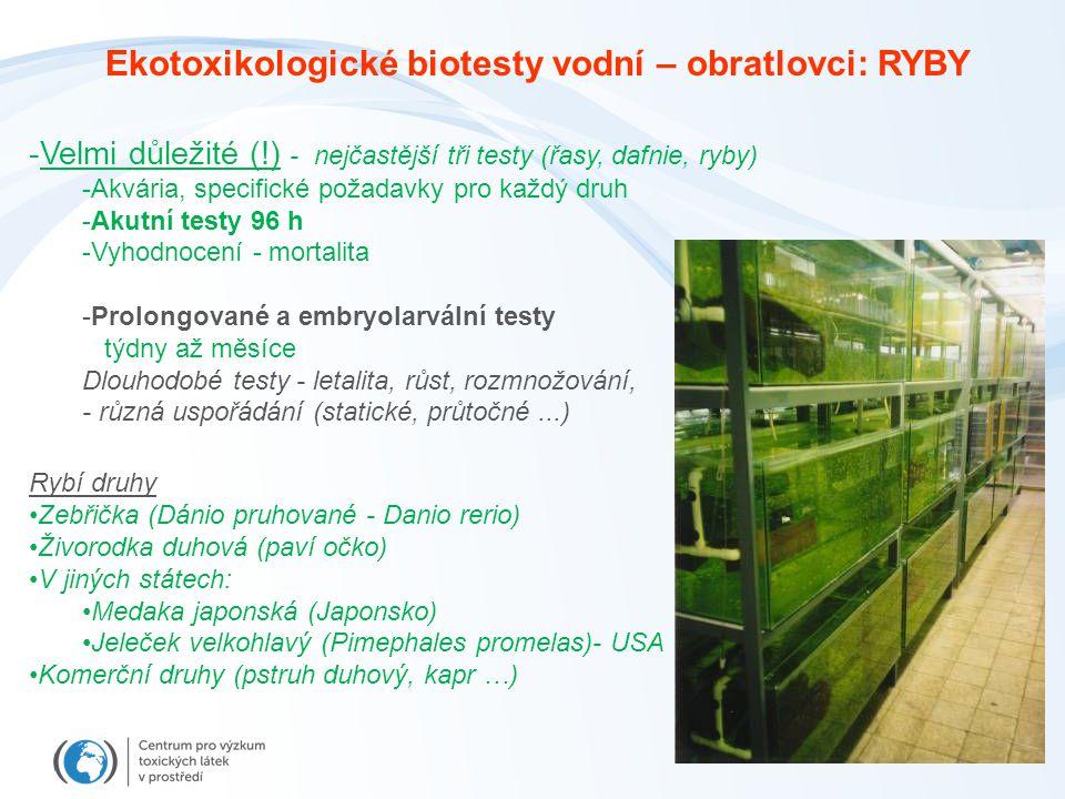Ekotoxikologické biotesty vodní – obratlovci: RYBY