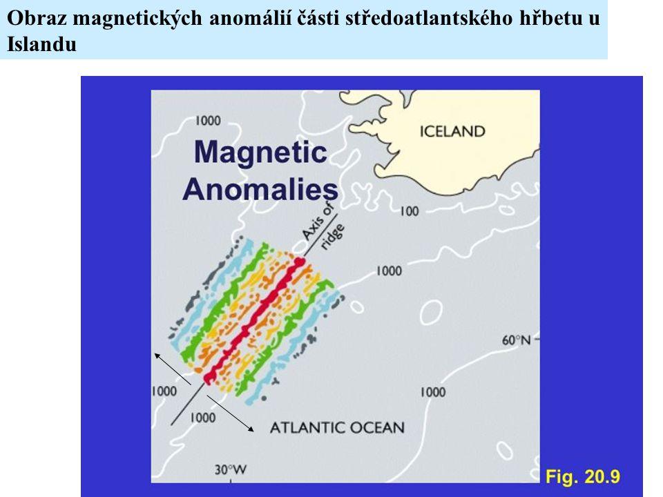 Obraz magnetických anomálií části středoatlantského hřbetu u