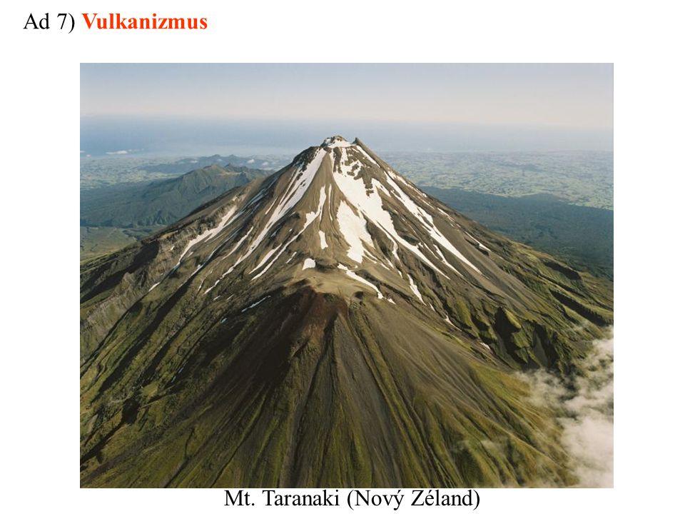 Ad 7) Vulkanizmus Mt. Taranaki (Nový Zéland)