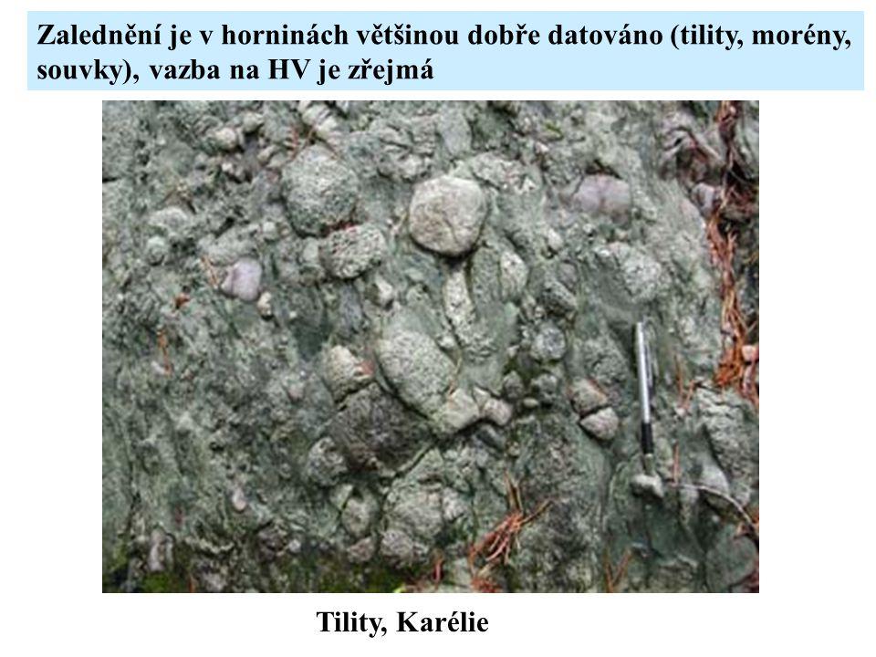 Zalednění je v horninách většinou dobře datováno (tility, morény,